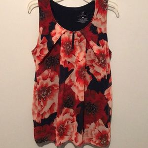 Navy and floral tank top